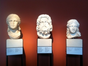 From left to right: Head of Isis, Head of Sarapis and Head of a cult statue of Isis.