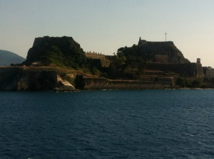 A view of Corfu Island while on the ferry.