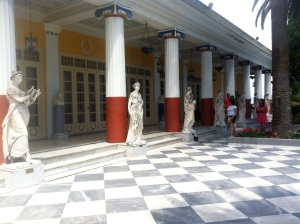 Besides the beautiful garden, Greek statues surround the outside.
